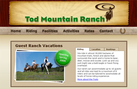 Tod Mountain Ranch horseback riding vacations in BC, Canada
